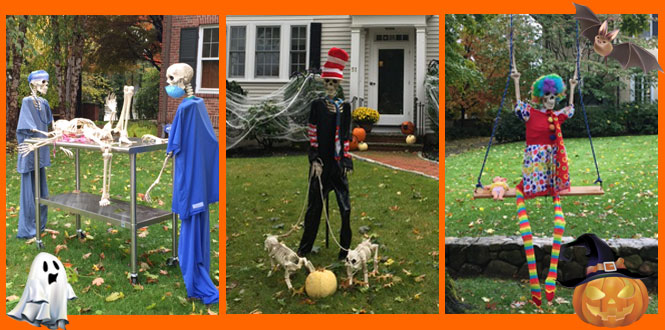Boston street decorated for Halloween with skeletons